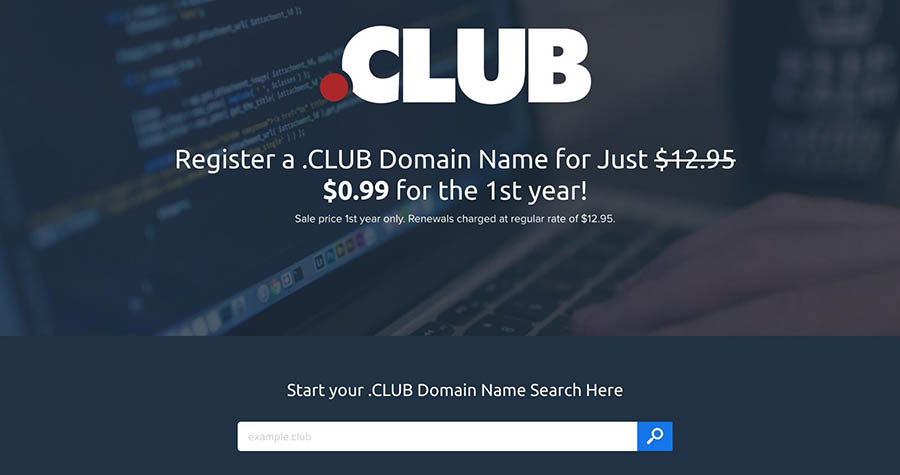 Buying a .CLUB domain with DreamHost.