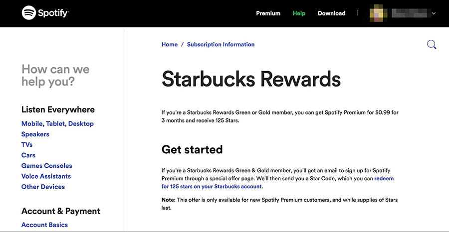 The Spotify and Starbucks rewards program.