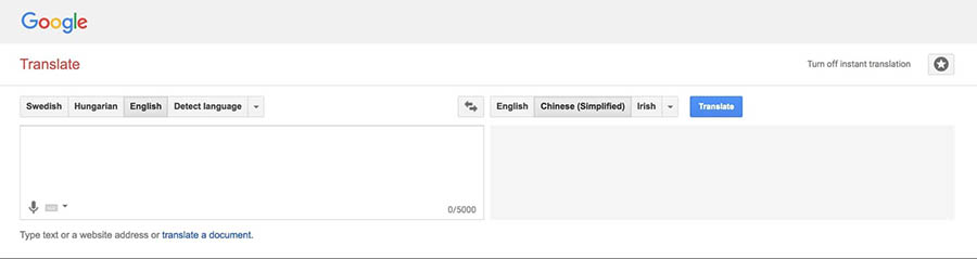 The Google Translate website.