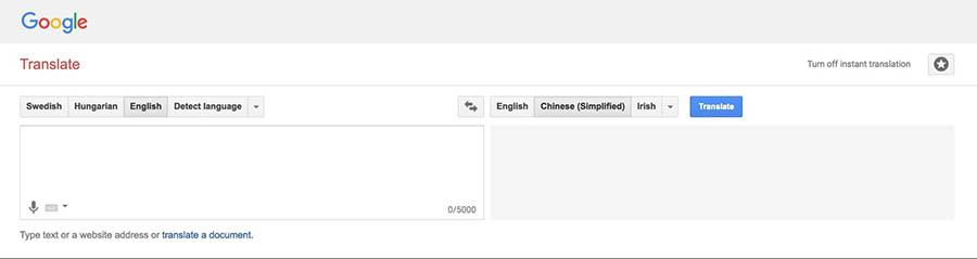 The Google Translate website.