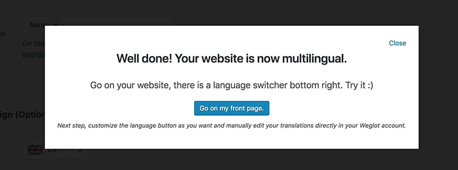 A message informing you that your website is now multilingual.