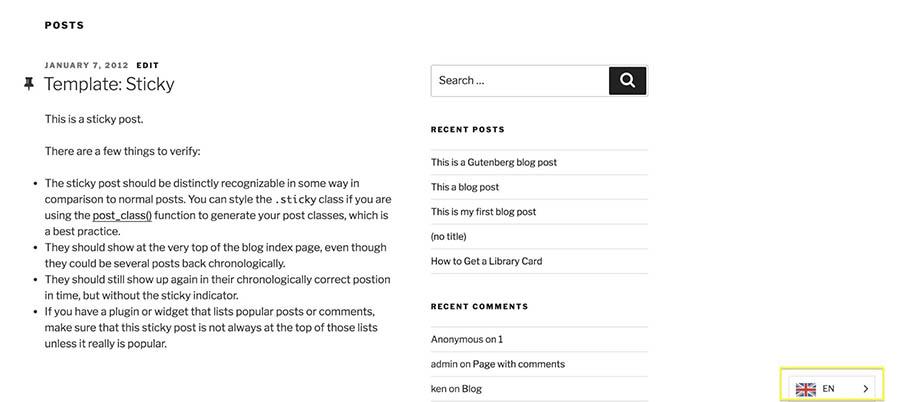 The Weglot language picker in the bottom-right corner of a WordPress site.