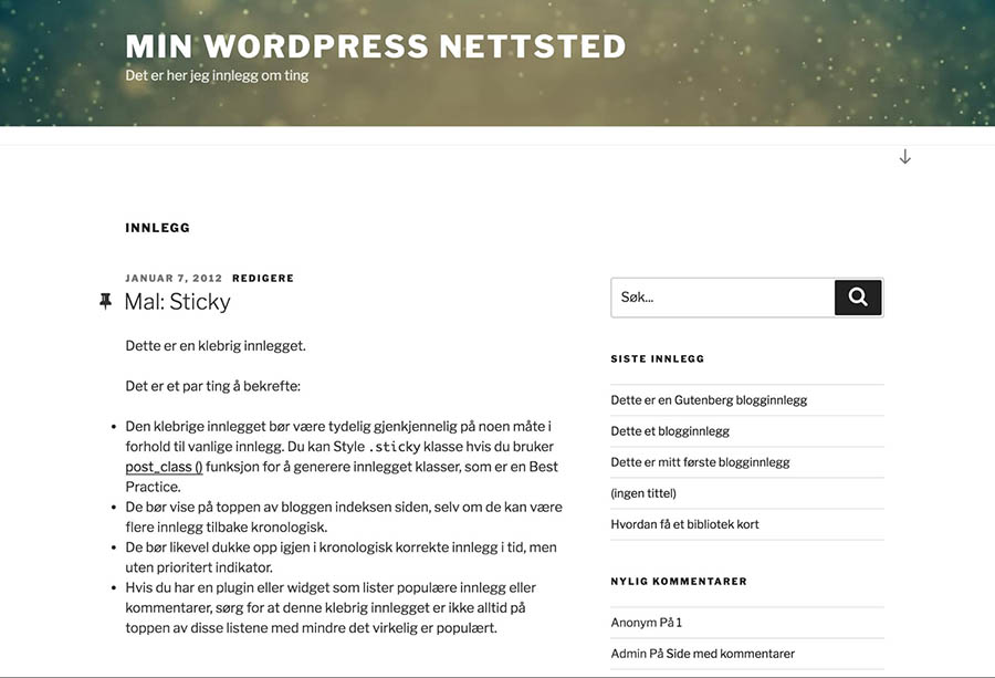 An example of a WordPress site translated into Norwegian.