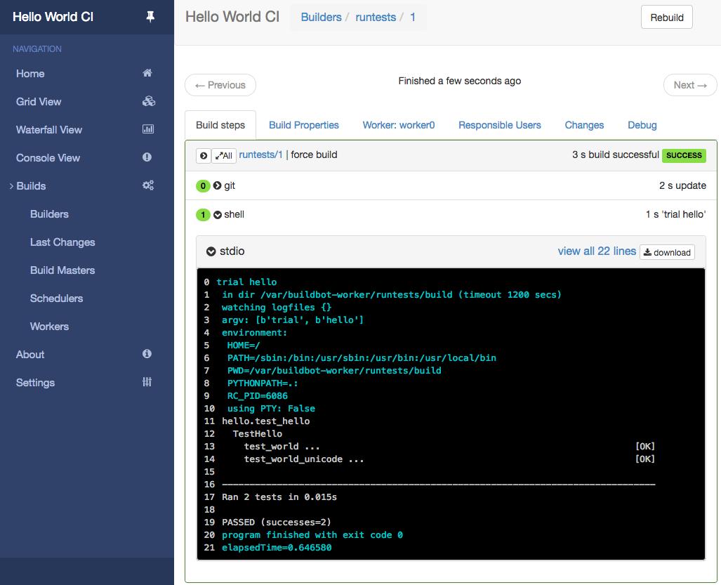 Sample build success screenshot
