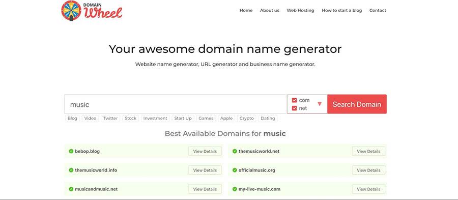 A search on DomainWheel.com.