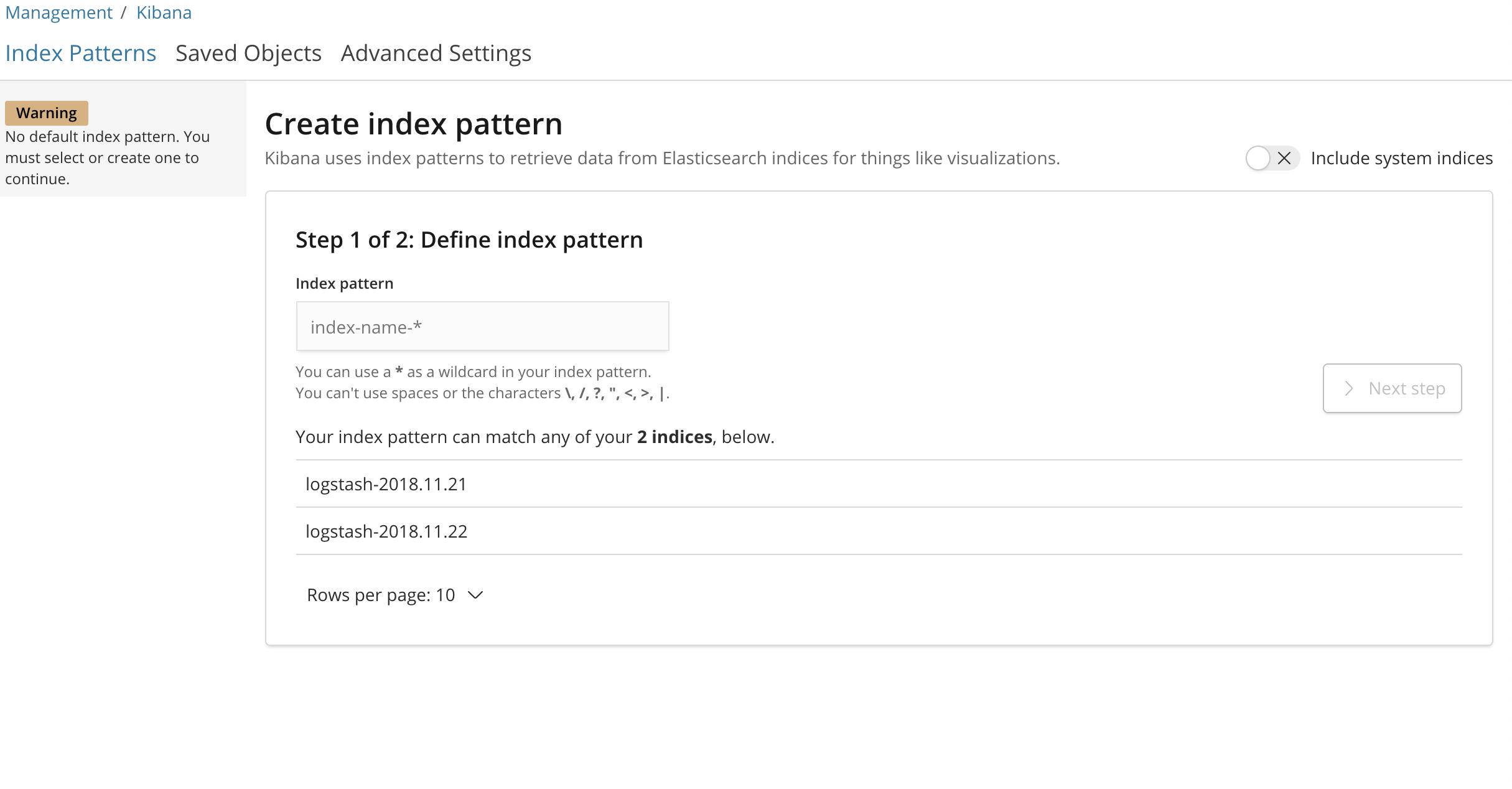 Kibana Index Pattern Configuration