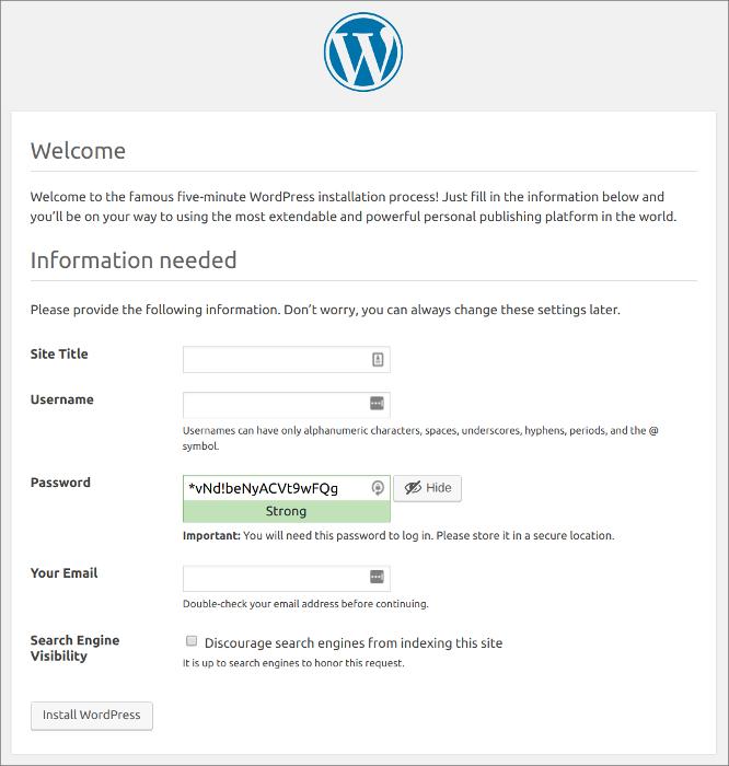 WordPress install screen