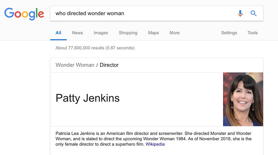 A Google result using an answer box.