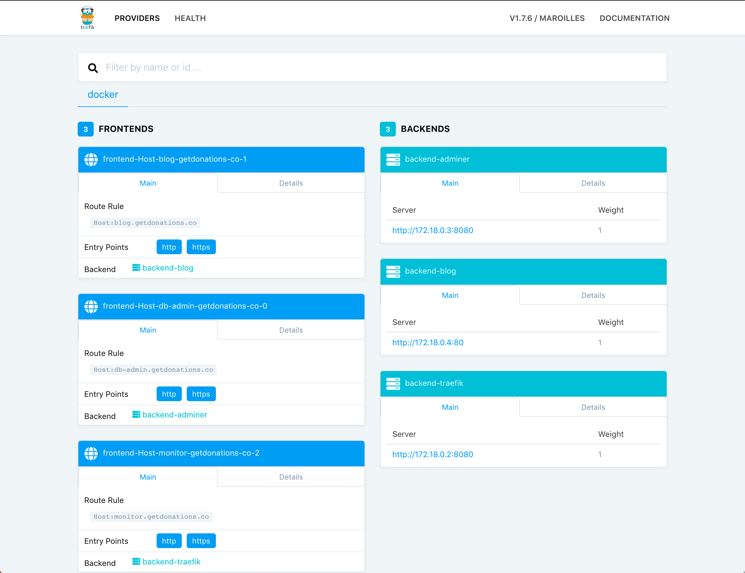 Populated Traefik dashboard