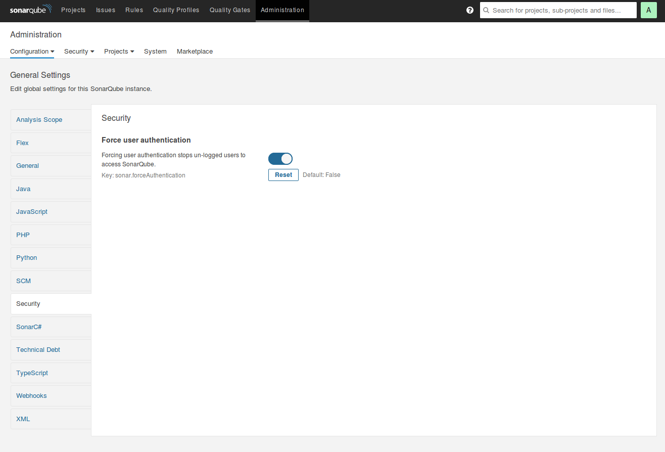 SonarQube Force authentication switch