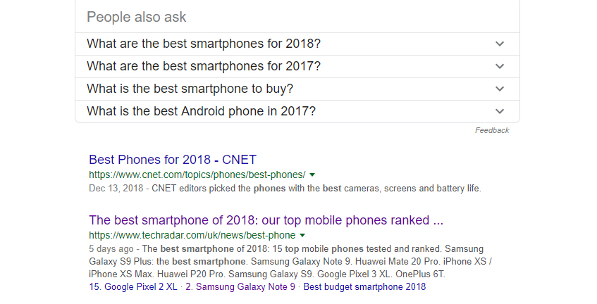 "A Google search for ""best smartphones""."
