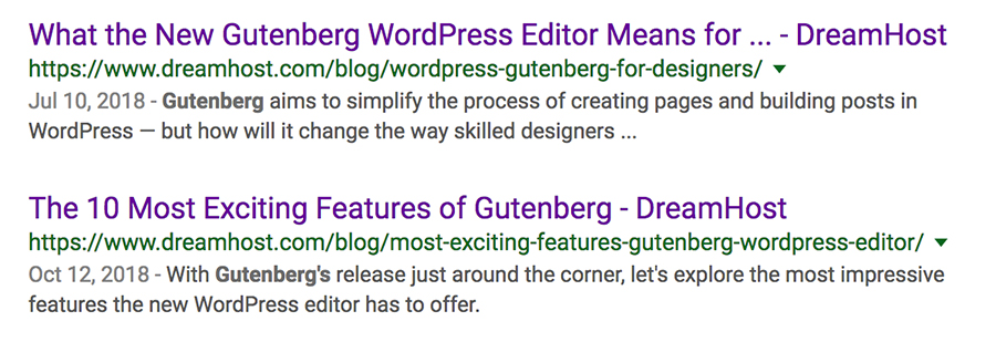 A Google search for Gutenberg.
