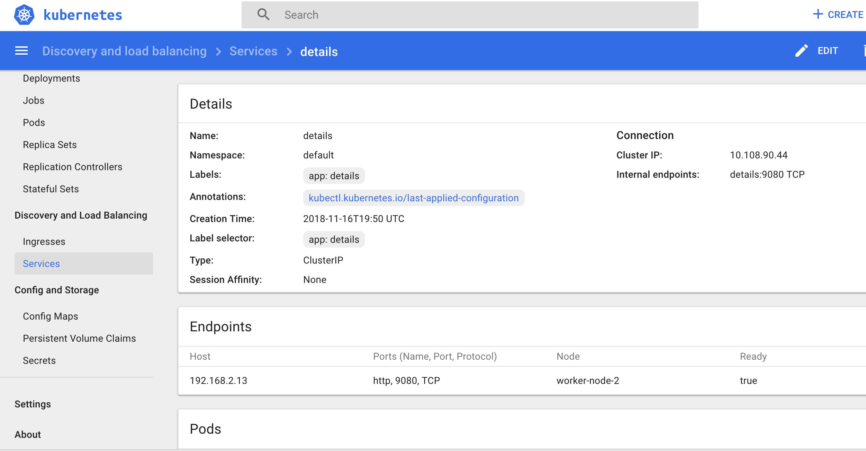 Details Service in Kubernetes Dash