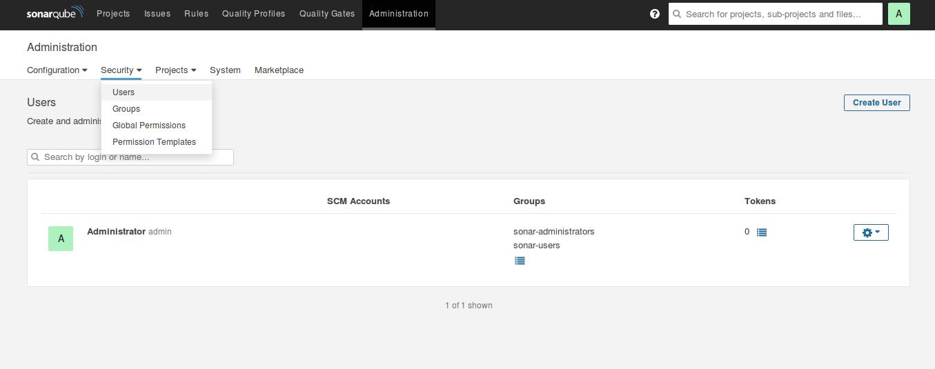 SonarQube users administration tab