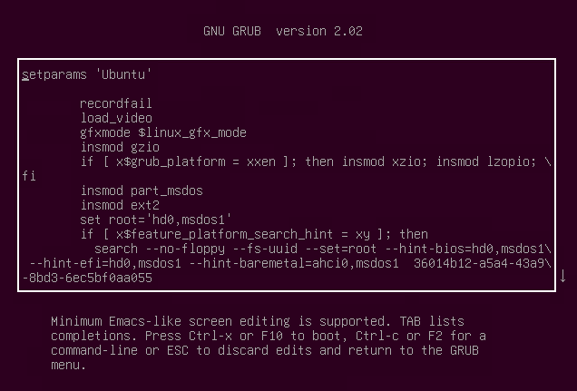 The GRUB configuration file in edit mode