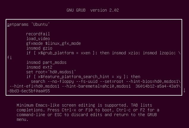 The GRUB configuration file in edit mode