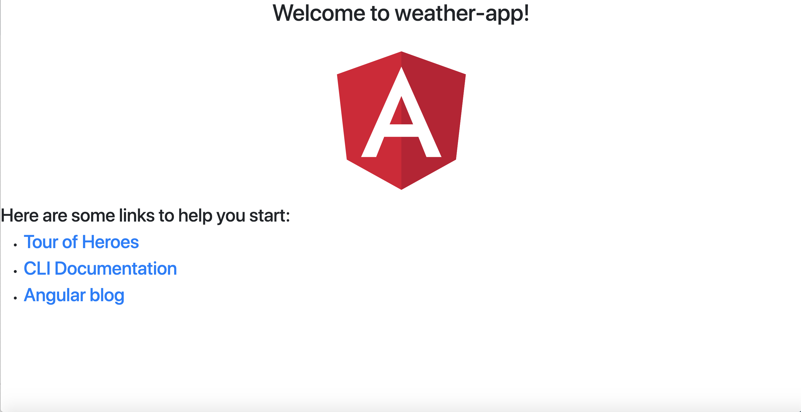 Image of default created app in Angular