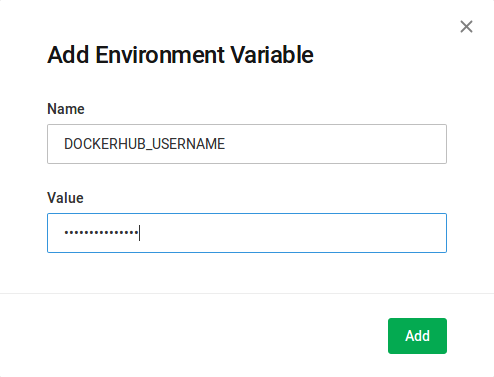Add Environment Variable Screen for CircleCI