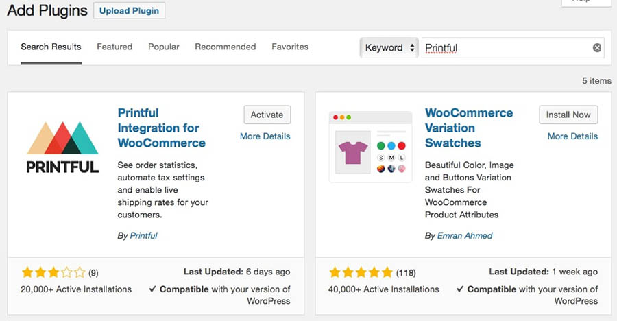 The Printful Integration for WooCommerce plugin.