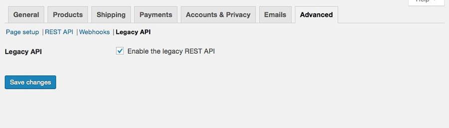 The WooCommerce Legacy API setting in the Advanced tab.