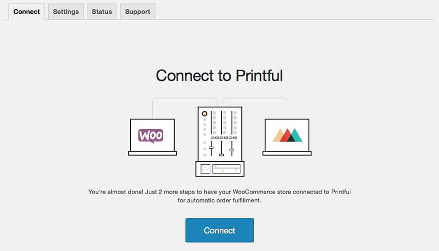 Alt text: The Connect to Printful page.