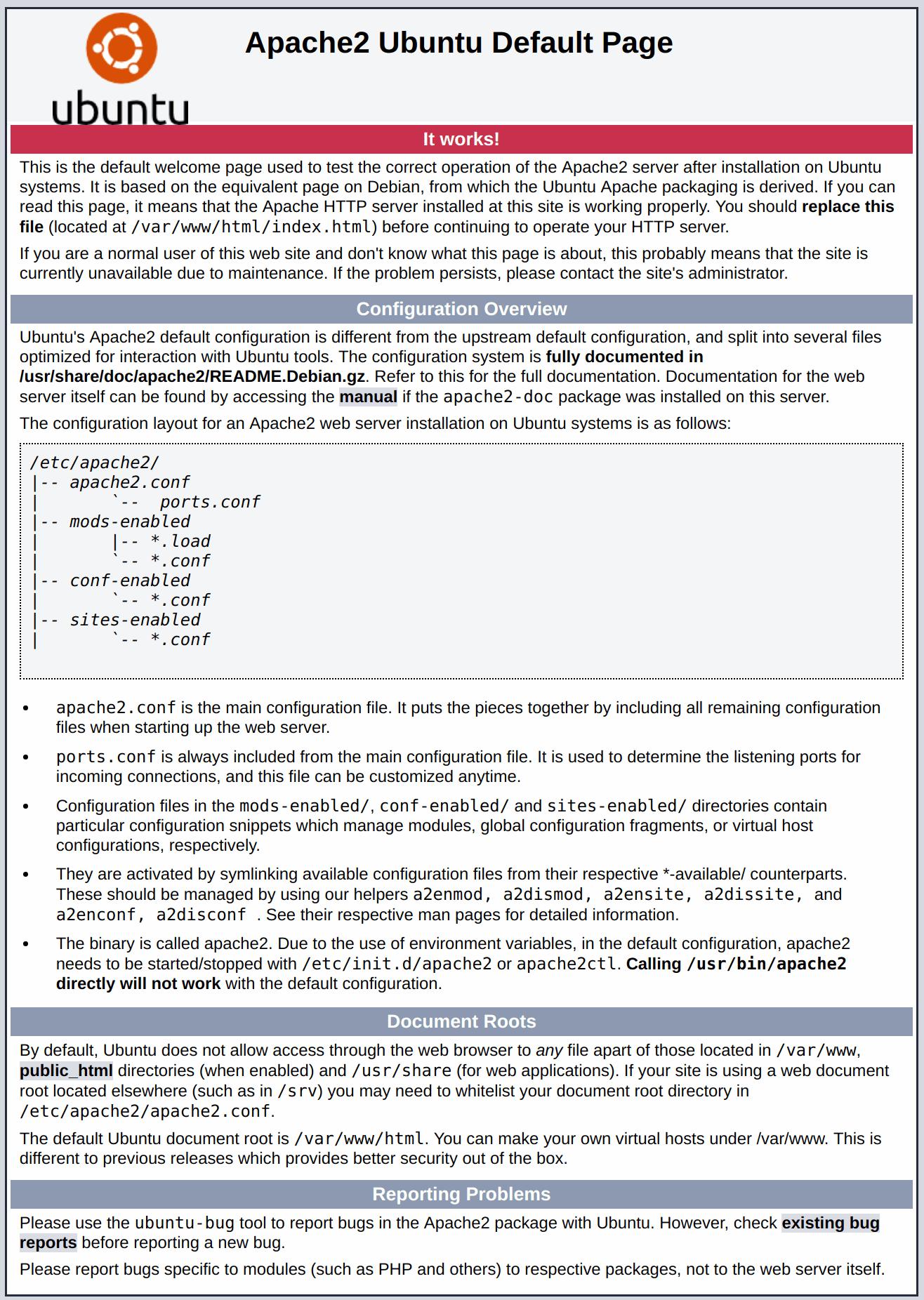 Ubuntu 20.04 Apache par défaut