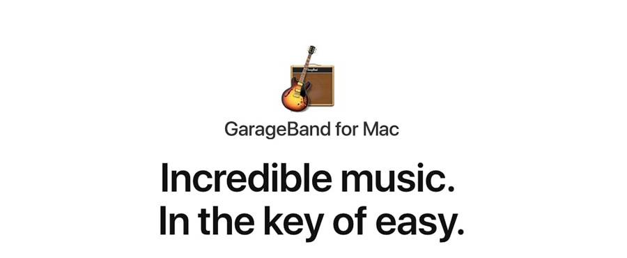 The Home page for Garageband.