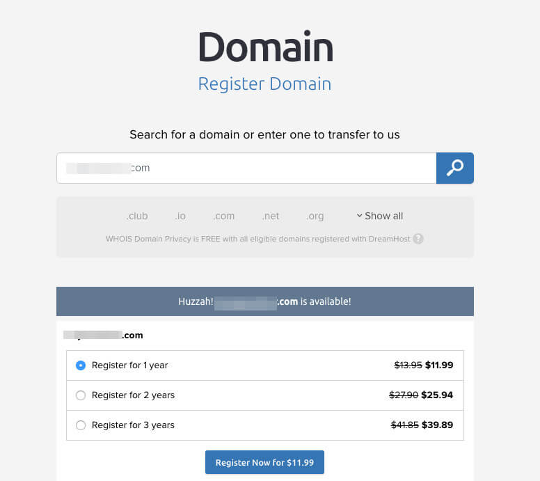 The DreamHost domain registration page.