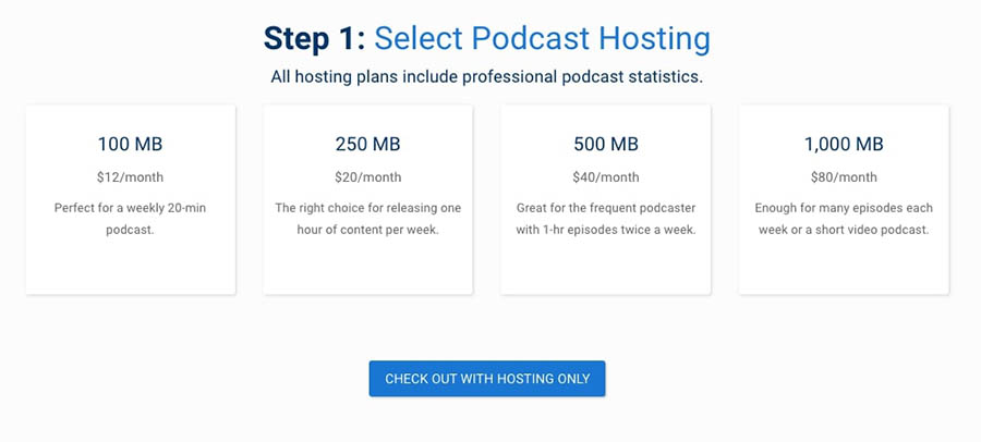 Blubrry's podcast hosting plans.