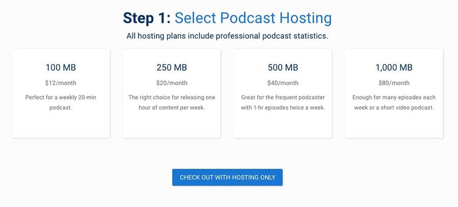 Blubrry's podcast hosting plans.