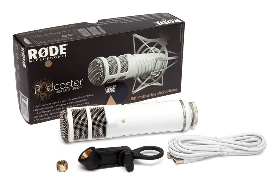 The Rode Podcaster microphone.