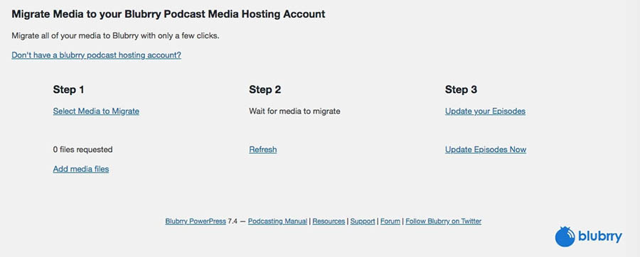 The Migrate Media section of PowerPress in the WordPress dashboard.