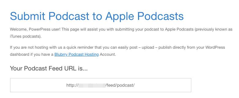 A podcast feed URL displayed via PowerPress and Blubrry.