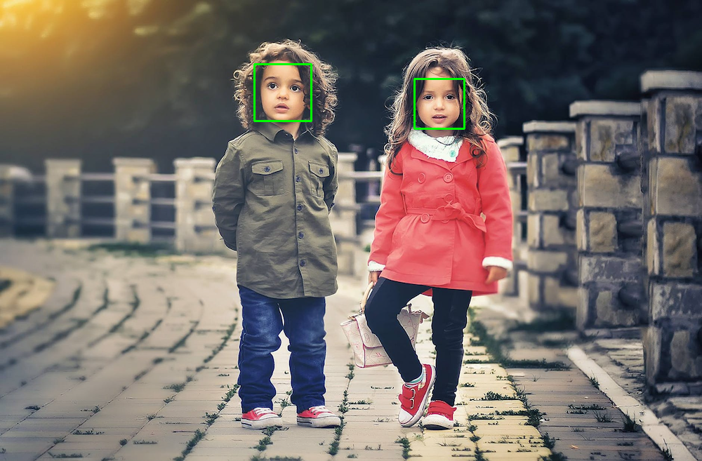 Picture of children with bounding boxes
