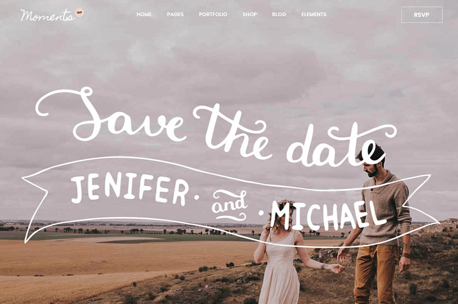 The Moments wedding website theme.