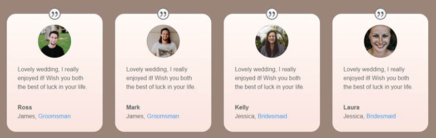An example of a wedding site's Guestbook page.