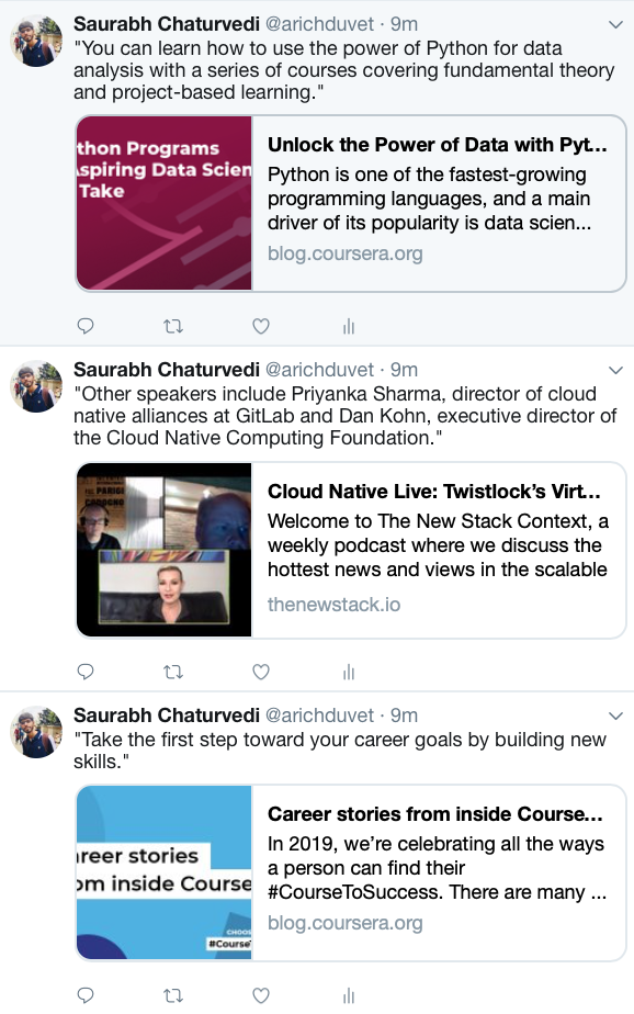 Programmatic Tweets posted