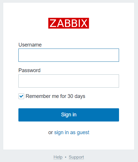 The Zabbix login screen