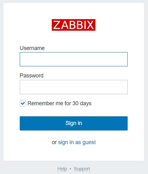 The Zabbix login screen