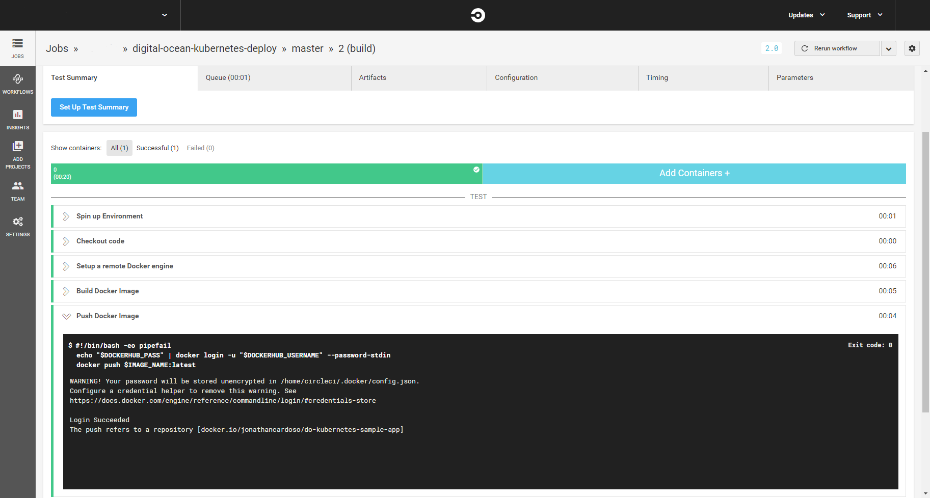 CircleCI build page with success build info