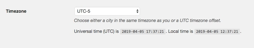The WordPress Timezone settings.