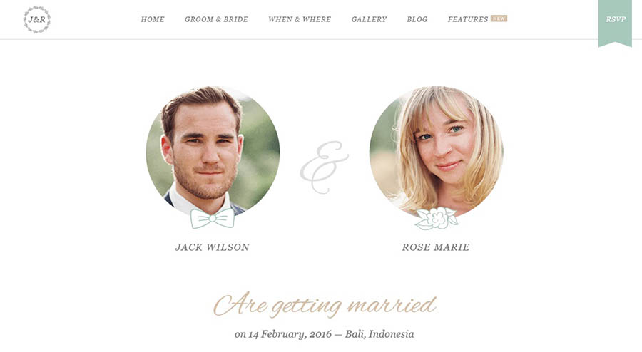 The Jack & Rose wedding website theme.