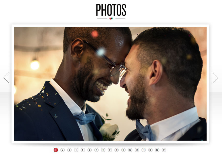 An example of a wedding site photo gallery.