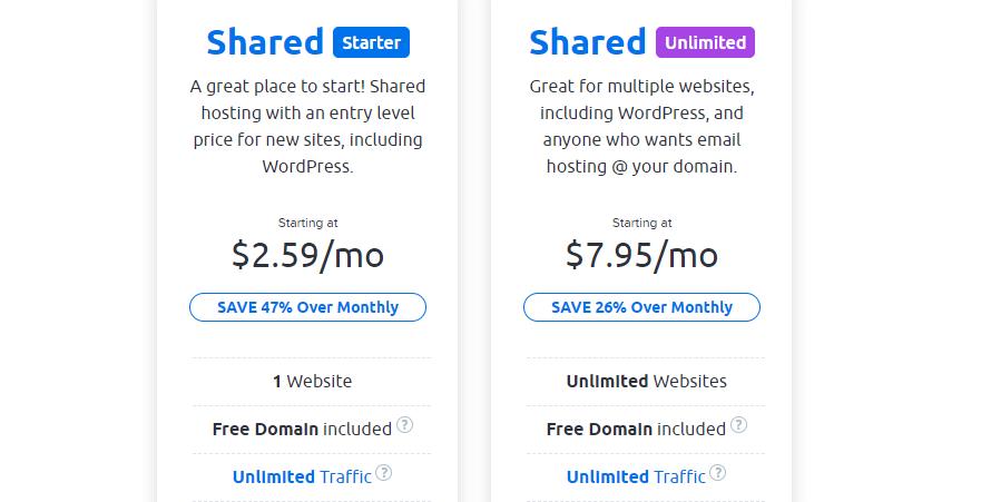 DreamHost shared hosting plans.