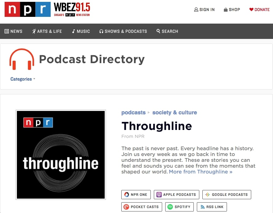 The Throughline Podcast in NPR's podcast directory.