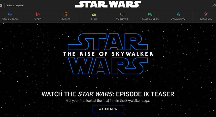 The StarWars.com homepage