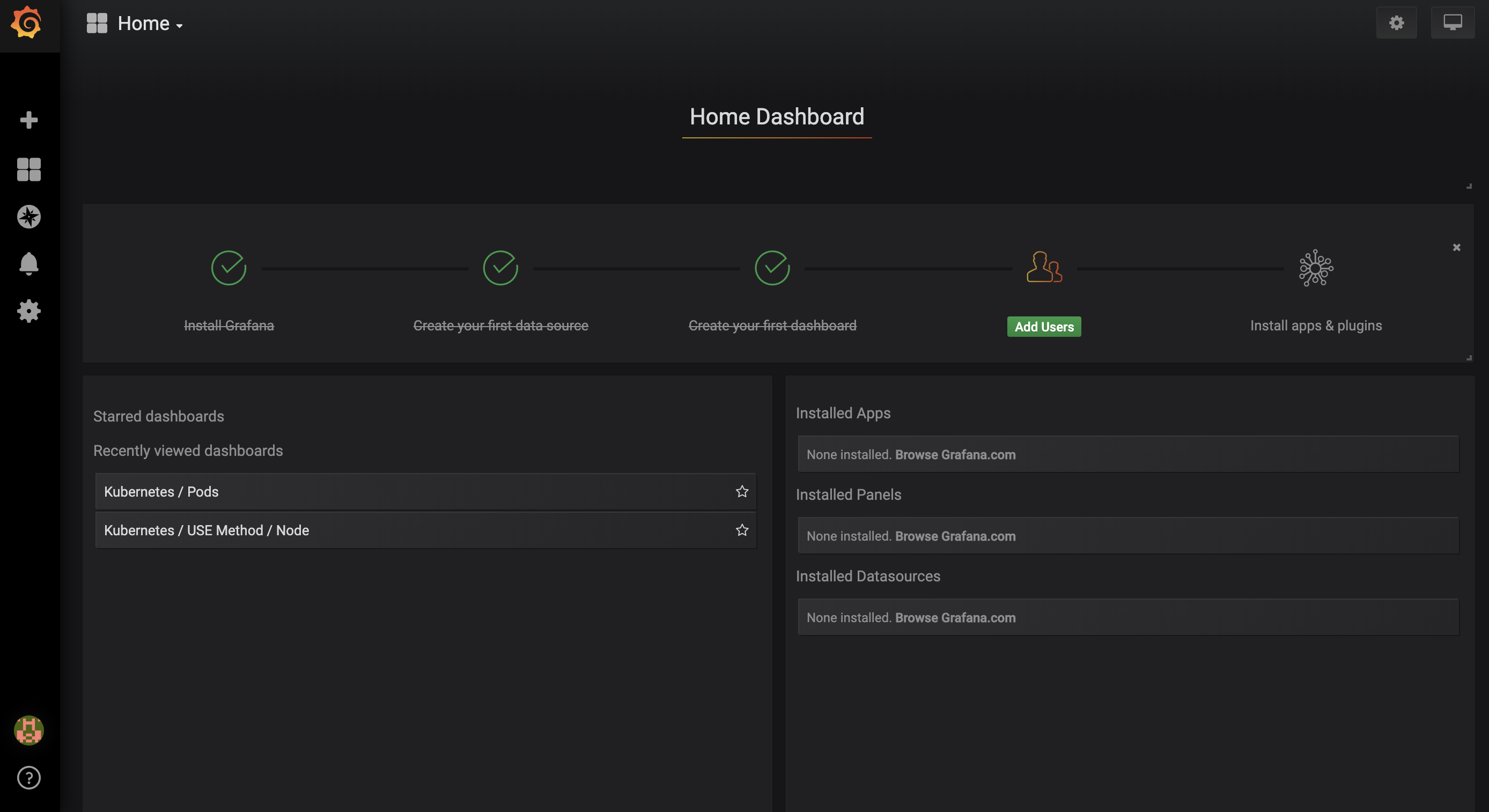 Grafana Home Page
