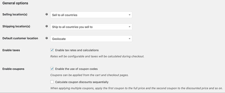 The Enable taxes setting in WooCommerce.