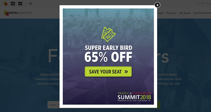 example of pop-up 'super early bird 65% off'