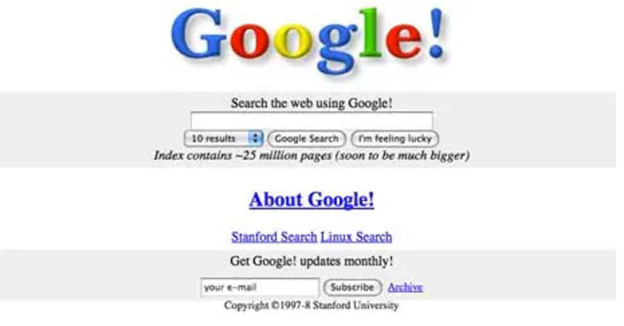 Google home page in 1996